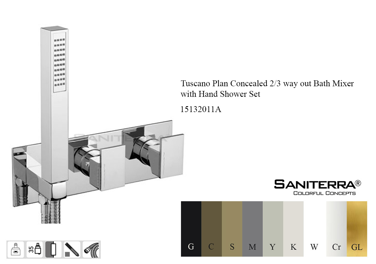 15132011A Concealed 2/3 way out Bath Mixer with Hand Shower Set PLAN