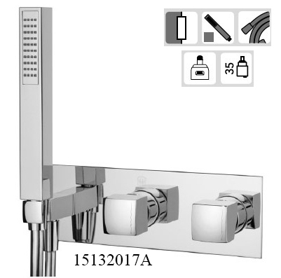 15132017A Concealed 2/3 way out Bath Mixer with Set Hand Shower KING